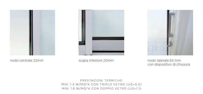 dettaglio finestra in alluminio levante
